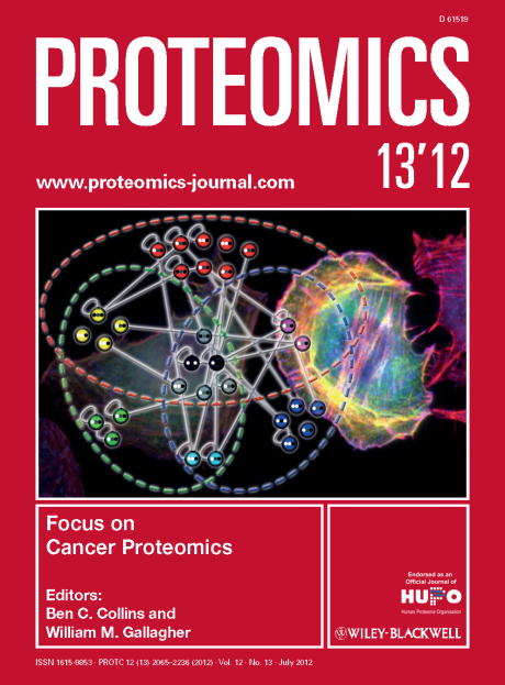 Proteomics cover, 2012, vol. 12 (no. 13) // Images by Adam Byron & Sue Craig // Reproduced with permission from Wiley-VCH Verlag GmbH & Co. KGaA